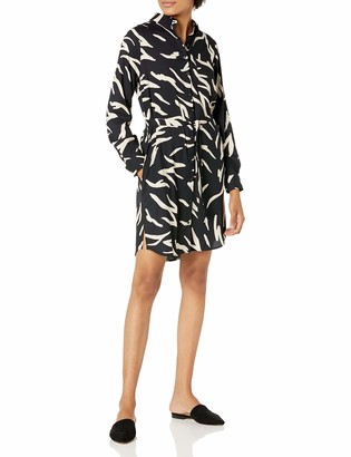 Daily Ritual Amazon Brand Women's Georgette Long-Sleeve Button Down Shirt Dress
