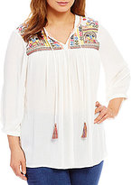 Intro Plus 3/4 Sleeve Mirrored Embroidered Peasant Top