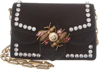 Gucci Black Velvet Broadway Shoulder Bag