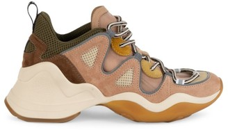 Fendi Mixed-Media Chunky Leather Sneakers