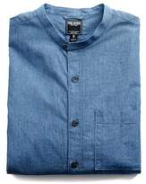 Todd Snyder Indigo Micro-stripe Band Collar Shirt