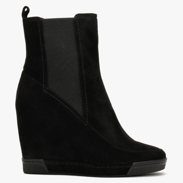 Daniel Puller Black Suede Wedge Chelsea Boots