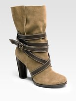 Rosegold Wrapped Suede Ankle Boots