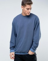 Asos Oversized Sweatshirt With Woven Elasticated Hem & Cuffs With Wash