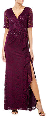 Adrianna Papell Long Stretch Lace Dress, Rich Raisin