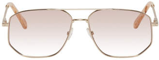 Chloé Gold and Pink Square Aviator Sunglasses