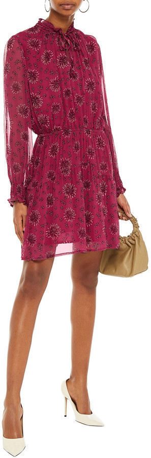 Thumbnail for your product : BA&SH Gize Shirred Floral-print Crepon Mini Dress