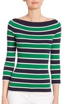Michael Kors Striped Cashmere Boatneck Sweater