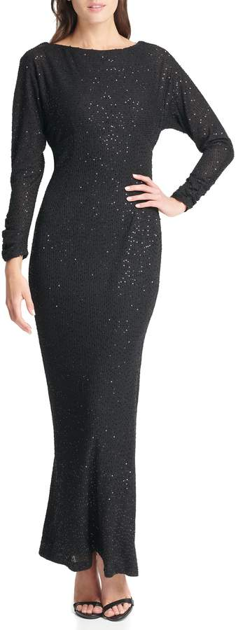 Vince Camuto Sequin Long-sleeve Gown