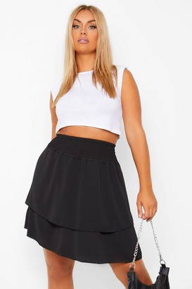 boohoo Plus Shirred Woven Double Layer Skater Skirt