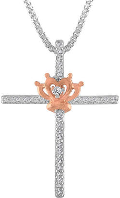 Silver Cross Fine Jewelry Womens 1/10 CT. T.W. Genuine White Diamond 14K Rose Gold Over Silver Sterling Pendant Necklace