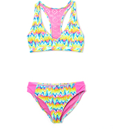 Vigoss Magenta Hippy Chic Croche-Accent Racerback Bikini - Girls