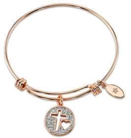 "Unwritten Faith Hope Love"" Crystal Cross Adjustable Bangle Bracelet in Rose Gold-Tone Stainless Steel"
