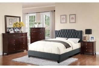 Alcott Hill Lambdin Wooden Upholstered Standard Bed Color: Blue Gray, Size: Full