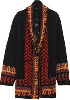 Etro Brocade-paneled Wool-blend Cardigan - Black