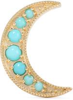 Andrea Fohrman Mini Crescent 18-karat Gold Turquoise Earring - one size