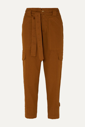 Alex Mill Expedition Cropped Belted Stretch-cotton Twill Slim-leg Pants - Camel
