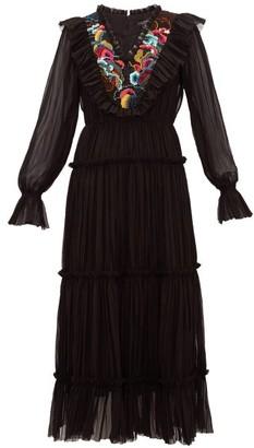 Saloni Celestine Embroidered Georgette Midi Dress - Womens - Black Multi