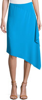 Cédric Charlier Asymmetric Side-Ruffle Skirt, Turquoise
