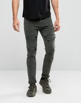 Asos Skinny Jeans With Rips In Khaki