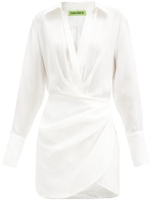 GAUGE81 Naha Draped Silk Shirtdress - Ivory