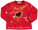 Dolce & Gabbana Heart Patch On Printed Jersey T-Shirt