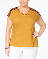 Style&Co. Style & Co Plus Size Cotton Embroidered Top, Only at Macy's