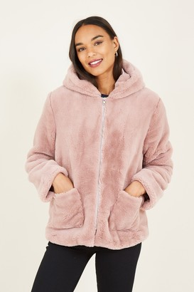 Yumi Pink Faux Fur Hooded Coat