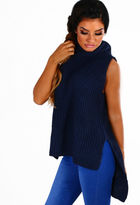 Pink Boutique Delaney Navy Knitted Sleeveless Jumper