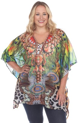 White Mark Plus Size Print Lace-Up Caftan Top