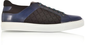 Fratelli Borgioli Navy Blue Leather and Black Quilted Nylon Men's Sneakers