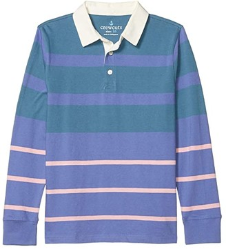 J.Crew Crewcuts By crewcuts by Long Sleeve Rugby Polo (Little Kids/Big Kids) (Blue David Stripe) Boy's Clothing
