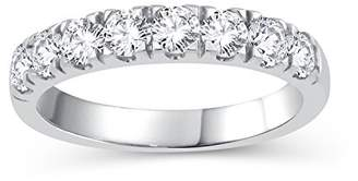Perfect Love Diamond Collection Women's 18 ct White Gold Round Diamond Wedding Eternity Band Ring, Certified Ideal Cut 1 ct