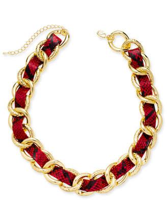 "Thalia Sodi Gold-Tone Animal Print Woven Chain Link 18"" Statement Necklace"