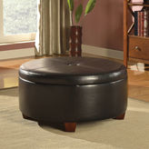Asstd National Brand Brenton Faux-Leather Round Storage Ottoman