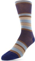 Bruno Magli Mercerized Cotton Blend Stripe Dress Socks