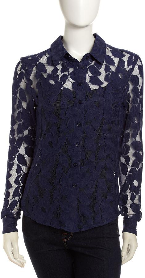 Isaac Mizrahi Lace Button-Down Shirt, Blue