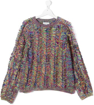 Stella McCartney Kids TEEN fringed knit jumper