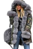 Roiii Winter Women Warm Fleece Hood Parka Overcoat Coat Long Fishtail Jacket Top