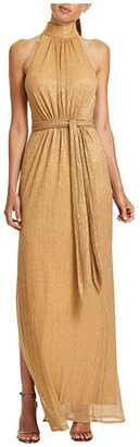 Halston Ruched Metallic Gown (Gold) Women's Clothing