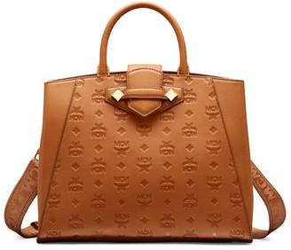 MCM Essential Monogrammed Leather Top Handle Bag