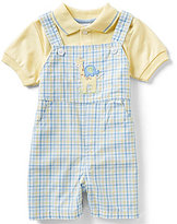 Starting Out Baby Boys Newborn-24 Months Polo Shirt & Embroidered Plaid Shortall Set