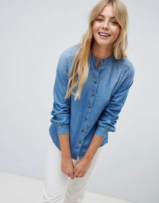 JDY grandad colar denim shirt-Blue