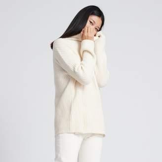 Naadam Wool Cashmere Oversized Ribbed Turtleneck White