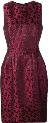 Oscar de la Renta bird pattern cocktail dress