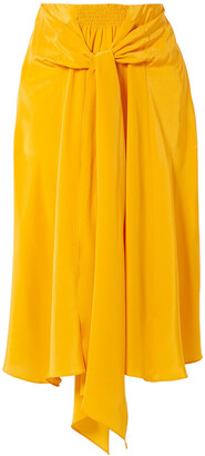 Tome Knotted Silk Crepe De Chine Midi Skirt