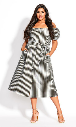 City Chic Stripe Remix Dress - ivory