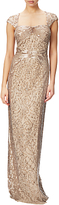 Adrianna Papell Cap Sleeve Envelope Back Beaded Gown, Champagne Gold