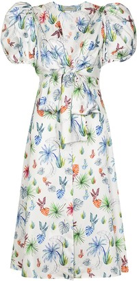 Silvia Tcherassi Puff-Sleeve Floral-Print Dress