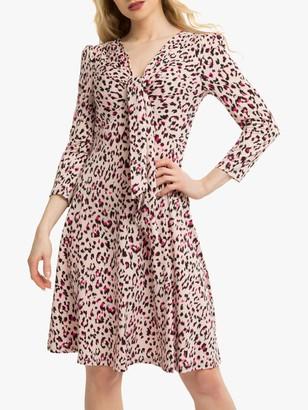 Jolie Moi Tie Front Animal Print Dress, Pink/Multi
